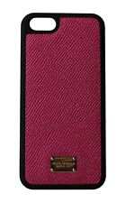 NEW $150 DOLCE & GABBANA Phone Case Pink Gold Logo Leather 12,5x6cm iPhone5