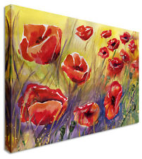 Poppies Flower Painting Canvas Wall Art Picture Print