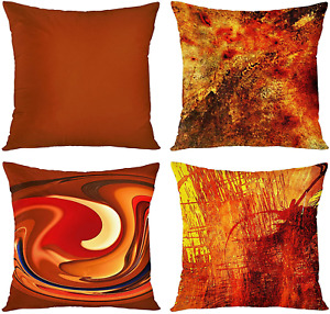Emvency Set of 4 Throw Pillow Covers Burnt Orange Abstract Red 20 Tan Funky Home