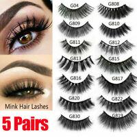 5 Pairs False Eyelashes Set Natural Long Cross Thick Fake Eye Lashes Extension