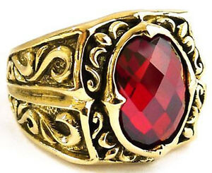 BIG RED RUBY GOTHIC MEDIEVAL KNIGHT GOLD BRASS RING Sz 9 NEW GOTH JEWELRY