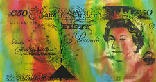 English 50 Pound Note Queen Elizabeth by Steve Kaufman SAK 2/50 18x40Painting