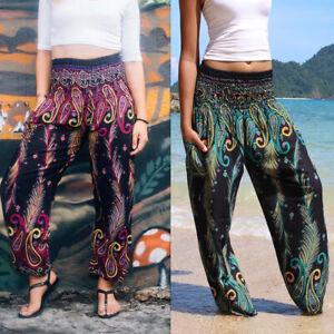Women Bohemian Beach Pants Yoga Pants Feather Print Knickerbockers Gym Leggings