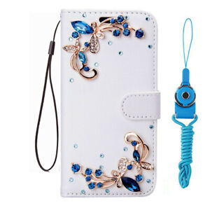 For Samsung Galaxy S8 S9 S10+ Bling Flip Leather Wallet Case cover with strap