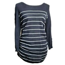 Oh Baby by Motherhood Womens Sweater Size M Black White Striped Maternity Ruched