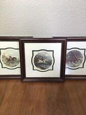 Fox Hunting 1878 Set of Three Framed W J Shayer Paintings E.G. Hester Engraving