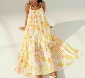 ZARA White Lemon Lawn Cotton Flowing Floral Strappy Midi Dress XL 14 16  BNWT