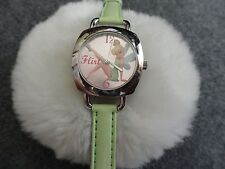 "Tinkerbell ""Flirt"" Quartz Girls or Ladies Watch with a Pretty Green Band"