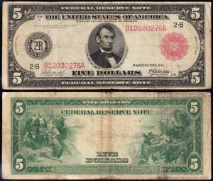Nice *RARE* 1914 $5 New York RED SEAL FRN Note! FREE SHIPPING! B12030276A
