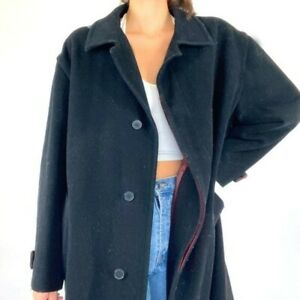 Women's United Colors of Benetton Vintage Black Wool Trench Coat Large