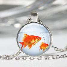 Fish Goldfish Bowl Aquarium Glass Cabochon Tibet silver pendant chain necklace