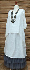 """LAGENLOOK LINEN LAYERING QUIRKY BOHO LONG DRESS*WHITE*BUST UP TO 46""""SIZE L"""