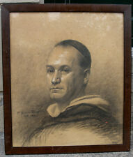 Portrait of a young pope. Antique Master drawing. Signed and dated 1885.