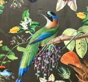 Italian Velvet Toffee Red Blue Botanical Tropical Birds Digital Print Exotic
