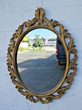 Carved Oval Vintage Distressed Gold Wall Bathroom Vanity Mirror 9186