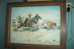 original vintage, WESTERN PAINTING, ROUND-UP ACRYLIC ON CANVAS ART BOARD