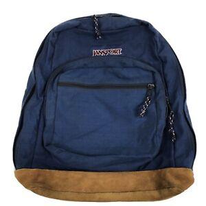 Vtg Jansport Backpack Brown Suede Blue Ff