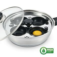 Eggssentials New 4 Egg Poacher Pan Set Nonstick Stainless Steel Individual Cups