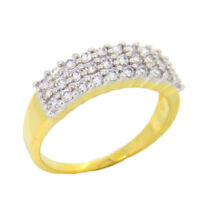 0.61CT NATURAL ROUND DIAMOND 14K SOLID YELLOW GOLD COCKTAIL RING IN SIZE 7 TO 9
