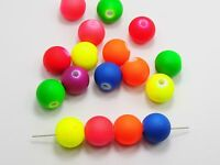 """20 Mixed Matte Neon Color Acrylic Round Beads 18mm(0.71"""") Rubber Tone"""