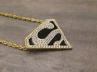"""COLLIER TRIANGLE """"S"""" SUPERMAN NEUF - BLING BLING HIP HOP fashion Homme / Femme"""