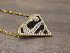 "COLLIER TRIANGLE ""S"" SUPERMAN NEUF - BLING BLING HIP HOP fashion Homme / Femme"