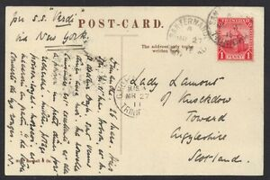 """TRINIDAD 1911 1d RATE TO SCOTLAND ON """"SS VERDI"""" SUNK BY GERMANY SUB IN 1917"""