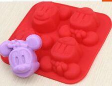 4-Minnie Mouse Molde De Torta Floral Jabón Flexible de Silicona Molde para Dulces y Chocolates