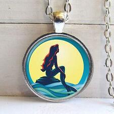 Vintage mermaid Cabochon Tibetan silver Glass Chain Pendant Necklace