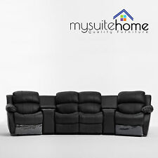 Nikki Leather 4 Seater Home Theatre Recliner Sofa Lounge Suite with 4 Reclines