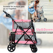 Double-layer Pet Stroller Dog Puppy Cat Pram Travel Buggy Pushchair for