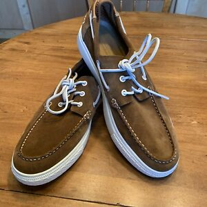 Mens New Polo Ralph Lauen Brown Suede Boat Shoes White Soles And Laces Size 12 M