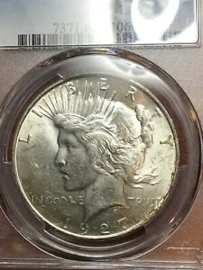 PCGS MS62 1927 D PEACE DOLLAR CHOICE BETTER DATE NICE LUSTER