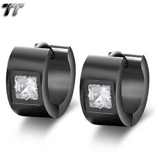 TT 7mm Black Stainless Steel Thick Hoop Earrings Square Clear CZ (EH86D) NEW