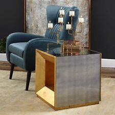 NEW ANTIQUED MIRROR AGED GOLD LEAF WOOD END ACCENT SIDE TABLE MODERN CUBE STYLE
