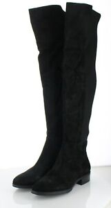 19-12 NEW $225 Women's Sz 6.5 M Sam Edelman Pam Suede/Textile OTK Boot - Black