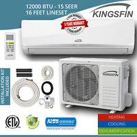 KINGSFIN Mini Split Ductless AC Air Conditioner / Heat Pump 12000 BTU / 115V