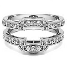 Sterling Silver Square Halo Style Wedding Ring Guard (0.49tw)