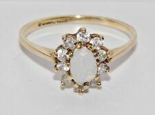 VINTAGE 9 Carati Giallo Oro Naturale Opal & Zircone onorevoli cluster Anello-dimensione N