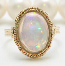 3.20 CTW Natural Ethiopian Opal in 14K Solid Yellow Gold Women Ring