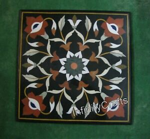 24 Inch Marble Coffee Table Top Floral Pattern Inlaid Sofa Table for Living Room