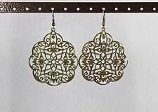 Gold Bronze teardrop filigree earrings lace cut out medallion dangle drop Big