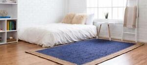 4x6 feet square indian braided jute rugs hand woven natural blue jute area rugs