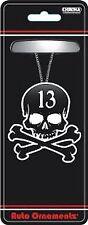 BLACK & WHITE LUCKY 13 SKULL & CROSSBONES REAR VIEW MIRROR ORNAMENT (X8412)