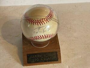 Vintage Rawlings signed baseball Barry bonds w/case 1990 mvp