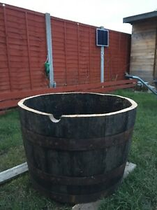 Wooden Genuine Reclaimed Oak Half Whiskey Barrel Planter Pot Garden Flowers