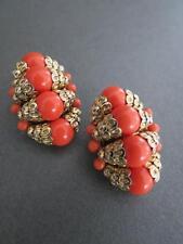 Vintage Crown Trifari Faux Coral Earrings