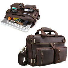 "Men Real Leather Backpack 14"" Laptop Briefcase  Messenger Shoulder Bag Satchel"
