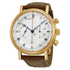 Breguet Classique Automatic Silvered Dial Alligator Leather Mens Watch