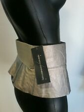 FRENCH CONNECTION SILVER PEPLUM LEATHER LOOK BELT SIZE XS NWT
